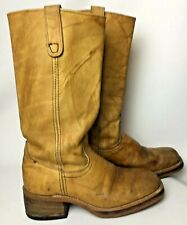 Vintage Leather Boots Womens 9 Mens 7.5 Camel Tan Western 70s Cowboy Boho