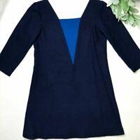 LISA PERRY size XS navy wool tunic dress