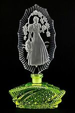 URANIUM LADY WITH HAT IN FLOWERS - PESNICAK, Bohemian signed Perfume Bottle