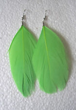 GREEN Feather Earrings - Classic Design - Clip-on Option