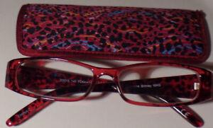 New! Foster Grant EZ Reader BRITNEY Magenta 2.00 Reading Glasses W/Soft Case!