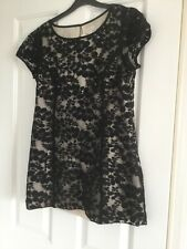 PHASE EIGHT Ladies Black Net Lace Leaf Cocktail Evening Top Size 12