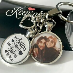 Personalised Photo Keyring Best Friends Sisters Blood Christmas Present Gift Box