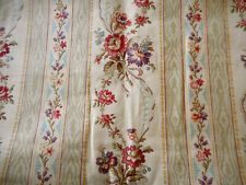Antique French Floral Garland Stripe Cotton Fabric ~ Pink Blue Sage Lavender