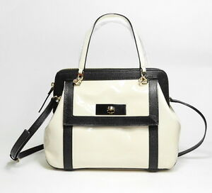 Kate Spade New York Auburn Place Cayton Bag Patent Leather Doe/Black - NEW