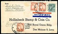 PHILIPPINES TO USA Old Air Mail Cover