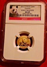 2016 China Gold Panda 3 g 50 Yuan NGC MS69 Early Releases Panda Label  Beautiful