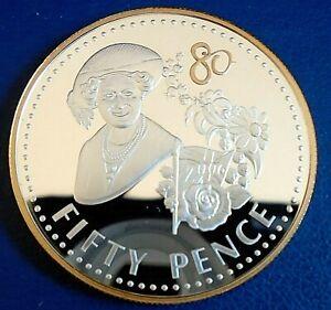 """FALKLANDS: 2006 50P Crown """"QEII 80th"""" A .925 silver proof, cap, cert - top grade"""