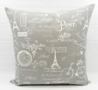 Storm Grey & white Pillow cover in Paris Print.  Sham Cover. Cotton.Select size