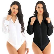 Women Long Sleeve Button Down Shirt Easy Care Business Work Bodysuit Blouse Top