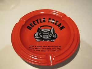 VW Collectible Beetle Freak Ashtray Orange With Black Lettering Graphics Metal