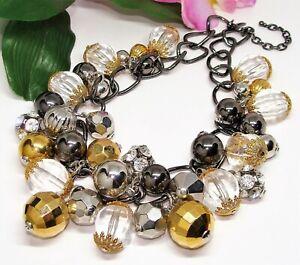 FAB! JOAN RIVERS Gunmetal Goldtone Silvertone Rhinestone & Clear Beads Necklace!
