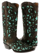 Womens Brown Overlay Western Cowgirl Boots Distressed Turquoise Leather Snip Toe