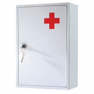 WALL MOUNTED FIRST AID MEDICINE CABINET LOCKABLE CUPBOARD BOX DOOR 2 KEYS
