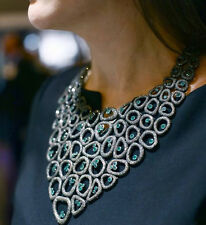 14 K Gold Pave 39.32 Ct Diamond CHOKER Necklace Gemstone Emerald Sterling Silver