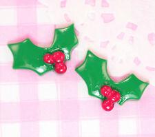 6 x Cute Christmas Holly Flat Back Cabochon Embellishments Kawaii Crafts Decoden