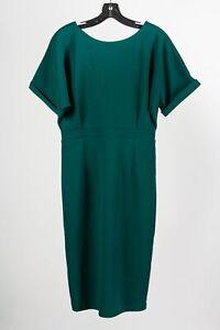 NWT Neiman Marcus Green Polyester Blend Women's Short Sleeve Sheath Dress Sz M