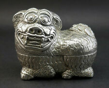 c1920, Exceptional Cambodian Khmer Foo Dog Form Repousse Chased Silver Betel Box
