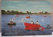 Vintage Oil Painting on Hardboard  Rowing Boats & Swans on Pond  Signed