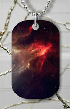 SPACE GALAXY AS SMOKE FIRE DOG TAG PENDANT NECKLACE FREE CHAIN -fge4Z