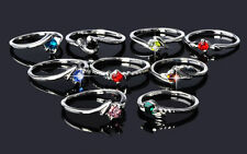 Wholesale 50Pcs Jewellery Bulk Mixed Silver Plated Party shining Crystal Rings