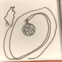 "PANDORA Sterling Silver Sparkling Family Tree Necklace, S 925 ALE, 31.5"" Adj."