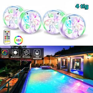 4x LED Poolbeleuchtung RGB Unterwasser Poollicht Poollampe Magnet +Fernbedienung