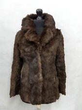 Women's Brown Rabbit Fur Coat Size 8 MV5726