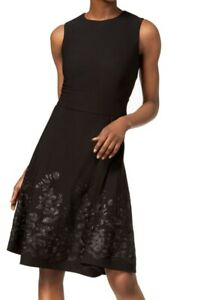 Calvin Klein Womens A-Line Dress Black Size 4P Petite Embroidered $149 533