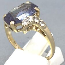 "STUNNING 10CT YELLOW GOLD *TOPAZ & CUBIC ZIRCON* OCCASION RING SIZE ""O""  1466"