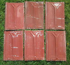 Group of (6) Tin Victorian Ceiling Tiles w/ Orig Red Paint, Antique ! - Lot 2