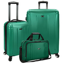 US Traveler 3pc Hytop Large & Carry-on Spinner Luggage & Under Seat Tote Bag Set