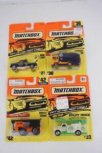 Lot of 4 Matchbox 1/64 GMC Wrecker #21 Garbage #36 Mobile Crane #42 Utility #33