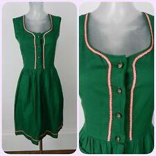 Bavarian VINTAGE 1970s Emerald Green Dirndl Folk Dress UK 14 Fr 42 Oktoberfest