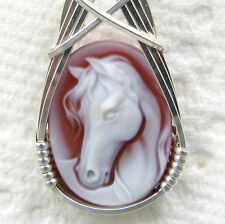 Horse Red Agate Oval Stone Cameo Pendant Sterling Silver Animal Jewelry