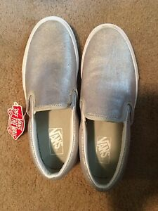NEW Vans Classic Slip On Metallic Silver Sneakers Shoes Womens 10 Mens 8.5