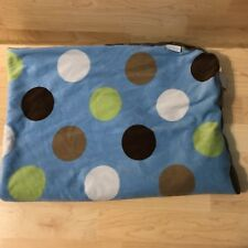 40x30 Carters Blue Polka Dot Large Spot Spotted Velour Brown Sherpa Baby Blanket