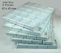 5 Pack 100 Pcs/42 mm White Plastic Box Storage For Gemstones/Diamond Gem Display