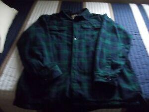 LL BEAN Fleece Lined Flannel Shirt Jacket Large-Reg. Plaid Blue Green