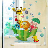 Animals Bath Shower Cute Wall Stickers Bathroom Kids Baby Room Home Decor Decals