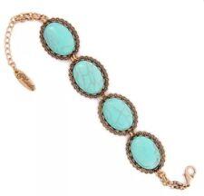 Plunder Design Fashion Vintage Jewelry Marble Turquoise Stone GoldChain Bracelet