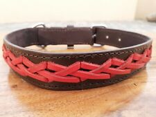 "Leather Braided Dog Collar Extra Strong  Large 18"" - 22"" Brown / Red 1.25"" Wide"