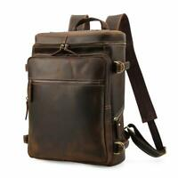 Men's Vintage Genuine Leather 15.6 Inch Laptop Backpack Hiking Overnight Daypack
