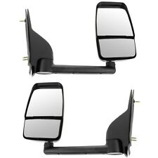 Pair of 03-11 Chevy Express Savana Van Textured Black Manual Tow Mirror LH + RH