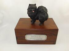 Beautiful Paulownia Small Wooden Personalized Urn with Black Pomeranian Figurine