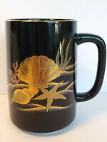 OTAGIRI MUG GOLD SEA SHELL Starfish Vintage JAPAN Porcelain Black 16 oz.