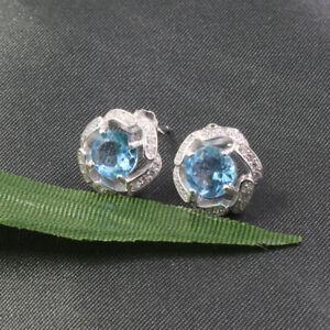 2.40Ct Round Brilliant Cut Aquamarine Halo Stud Earrings 14k White Gold Finish