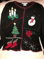 Ugly Christmas Sweater Party Womens Sz Large Bling Snowman Tree Victoria Jones