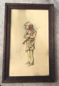 c1920 Antique Watercolor Painting Western Native American Indian Chief Rifle Gun