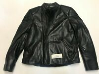 "Motorcycle Jacket Real Leather Black Label 52 Armpit 21"" Lgth 25"" (646)"